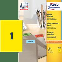 AVERY ZWECKFORM 3473 Farbige Etiketten 210x297 mm A4 100 Etiketten / 100 Bogen
