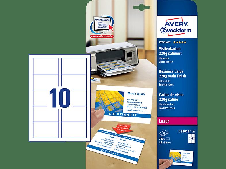 Avery Zweckform C32016 25 Colorlaser Visitenkarte 220gr 85 X 54 Mm 85 X 54 Mm A4 250 Karten 25 Bogen