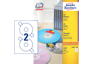 AVERY ZWECKFORM CD/DVD Labels Classic Size, Ø 117 mm, 200 etichette - - (Bianco)