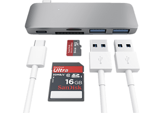 SATECHI PASSTHROUGH, USB Typ-C Hub, Space Grey