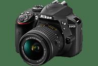 NIKON D3400 Kit Spiegelreflexkamera, 24.72 Megapixel, 18-55 mm Objektiv (AF-P, VR), Schwarz