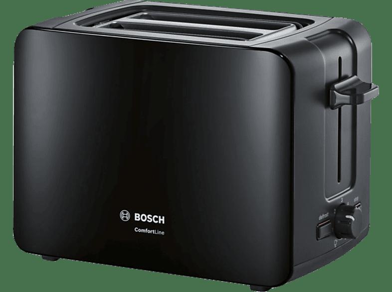 BOSCH TAT6A113 ComfortLine Toaster Schwarz (1090 Watt, Schlitze: 2)