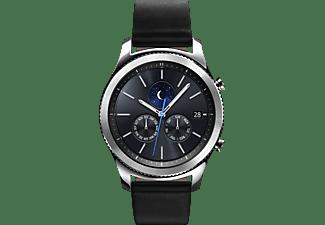 SAMSUNG Gear S3 Classic Smartwatch Echtleder, 22 mm, Korpus: Silber, Echtleder-Armband: Schwarz
