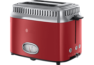 RUSSELL HOBBS 21680-56 Retro Ribbon Red Toaster Rot/Edelstahl (1300 Watt, Schlitze: 2)