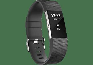 Pulsera de actividad - Fitbit Charge 2, Ritmo Cardíaco, Negro y Plata, Grande