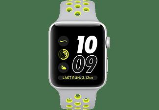 APPLE Watch Series 2 Nike+ Smart Watch Aluminium Sportband, 42 mm, Silber/Silber/Gelb