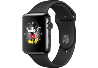 APPLE Watch Series 2 - Behuizing Roestvrij staal 38mm Space Black - Armband Sport Zwart