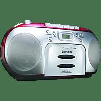 LENCO SCD420 mit Kassettendeck Radiorecorder (Rot)