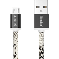 PLUS US LifeStar Cable Cross Snake Bite Micro USB Kabel, Weiß/Schwarz