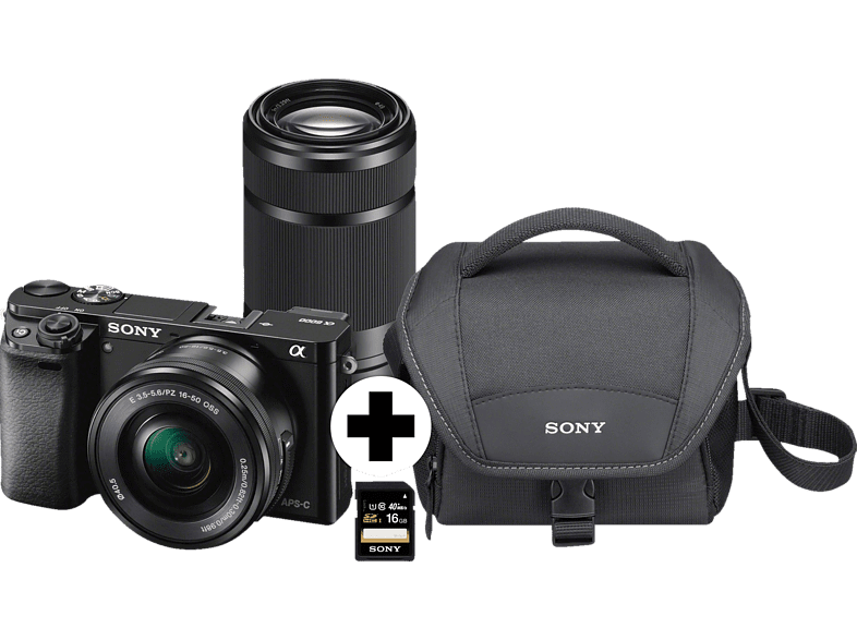 SONY Alpha 6000 ZOOM+TELEZOOM KIT (ILCE-6000Y) Systemkamera 24.3 Megapixel mit Objektiv 16-50 mm, 55-210 mm , 7.5 cm Display  , WLAN