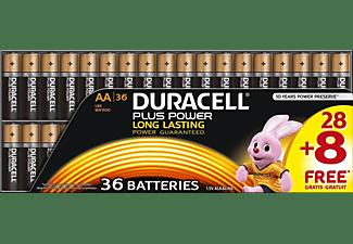 DURACELL Plus Power  AA Mignon Batterie, Alkaline, 1.5 Volt 36 Stück