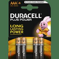 DURACELL Plus Power AAA Micro Batterie, Alkaline, 1.5 Volt 4 Stück
