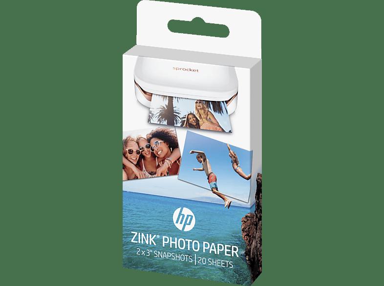 HP Fotopapier Zink 5 x 7.6 cm   2 Packungen Fotopapier mit jeweils 10 Blatt (Fotodrucker nicht im Lieferumfang enthalten)