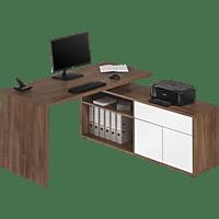 MAJA 4020, Schreib- und Computertisch, Eiche Dunkel/Weiß Hochglanz