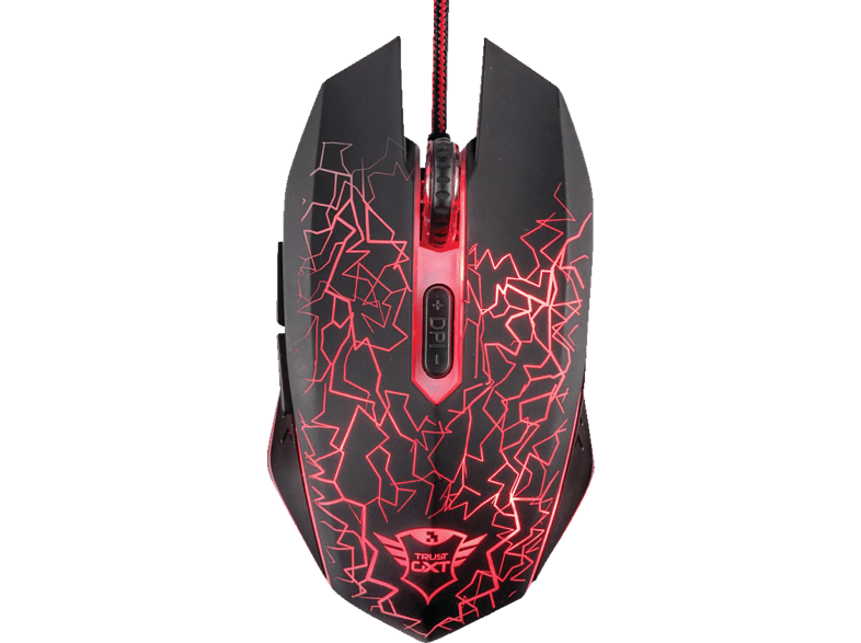 TRUST GXT105 Gaming Maus, Schwarz/Leuchtfarbe Rot