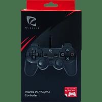 PIRANHA 397231 Wired Controller für PS2/PS3 und PC , Controller, Schwarz