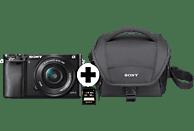 SONY Alpha 6000 KIT (ILCE-6000L) + Tasche + Speicherkarte Systemkamera 24.3 Megapixel mit Objektiv 16-50 mm f/5.6, 7,5 cm Display, WLAN