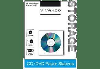 VIVANCO CD/DVD Papier-Umschläge, 100er Pack weiß