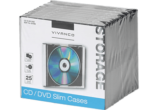 VIVANCO CD/DVD Slim Case, 25er Pack schwarz