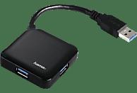 HAMA 4-fach, 1x USB-3.0-Hub, Schwarz