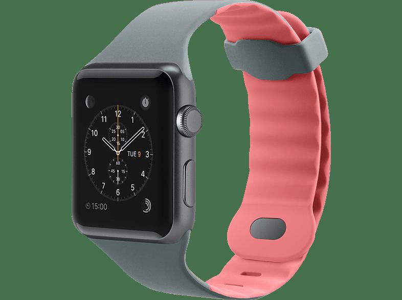 BELKIN Silikonband, Uhrenarmband, Apple, Apple Watch 38mm, Grau/Pink