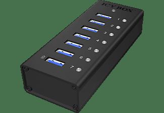 RAIDSONIC ICY 7-Port USB 3.0 Hub mit USB Ladeport, USB Hub, Schwarz