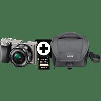 SONY Alpha 6000 KIT (ILCE-6000L) + Tasche + Speicherkarte Systemkamera 24.3 Megapixel mit Objektiv 16-50 mm f/5.6, 7,6 cm Display, WLAN