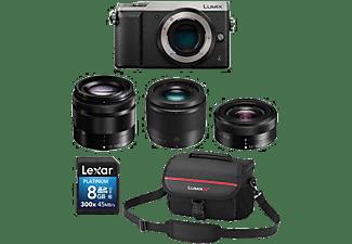 PANASONIC Hybride camera Lumix DMC-GX80 Premium Zoom Kit - 12-32 mm + 25 mm + 35-100 mm