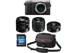 PANASONIC Appareil photo hybride Lumix DMC-GX80 Premium Zoom Kit - 12-32 mm + 25 mm + 35-100 mm