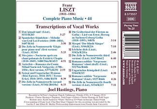 Hastings Joel - Transkriptionen von Vokalwerken  - (CD)