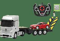 JAMARA Mercedes Actros 1:26 2,4GHz & AMG GT 1:24 2.4 GHz Silber/Rot Ferngesteuertes Fahrzeug, Tieflader: Silber; Auto: Rot