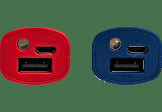 REALPOWER PB-T1 2er Pack Powerbank 2600 mAh Blau/Rot
