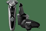 PHILIPS S9711/31 elektrischer Nass- und Trockenrasierer Serie 9000, silber-schwarz