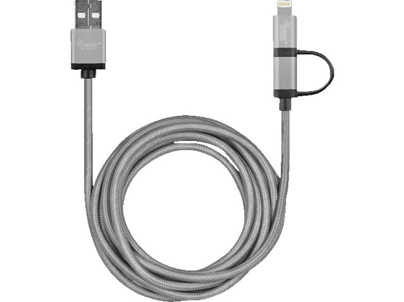 LEICKE 2-in-1, Lightening to USB Cable, Grau