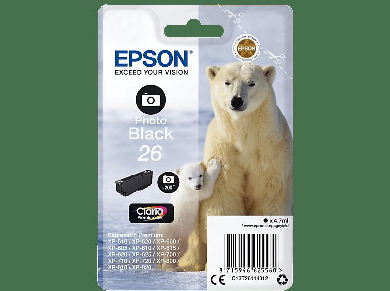 EPSON Original Tintenpatrone Eisbär Photo Schwarz (C13T26114012)