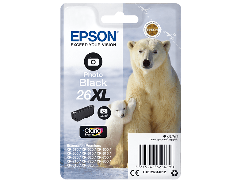 EPSON Original Tintenpatrone Eisbär Photo Schwarz (C13T26314012)