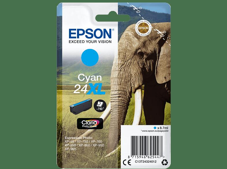 EPSON Original Tintenpatrone Elefanten Cyan (C13T24324012)