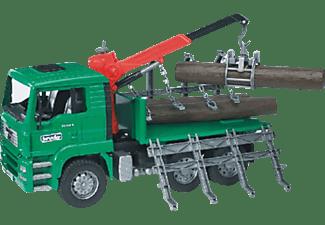 BRUDER MAN TGA Holztransport-LKW mit Ladekran Baufahrzeug Mehrfarbig