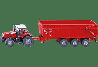SIKU Massey Ferguson Traktor mit Anhänger Nutzfahrzeug Miniatur, Mehrfarbig