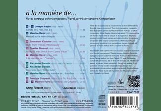 Anne Riegler - A la manière de..-Lieder für Sopran und Klavier  - (CD)