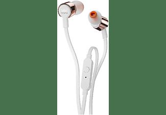 Auriculares Botón - JBL T210, Micrófono, Control remoto, Rosa dorado
