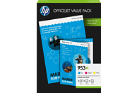 HP 953XL  Tintenpatrone Office Value Pack  inkl. 75 Blatt A4 Fotopapier Cyan/Magenta/Gelb (1CC21AE)