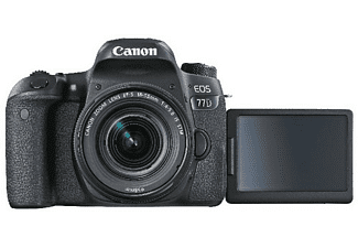 CANON EOS 77D STM Spiegelreflexkamera, 24.20 Megapixel, Full HD, 18-55 mm Objektiv (EF-S, IS, STM), Touchscreen Display, WLAN, Schwarz