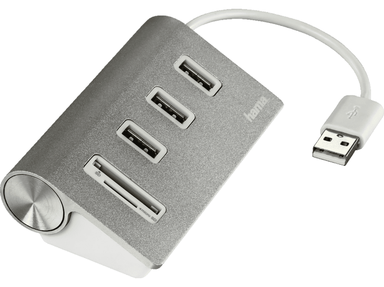 HAMA Aluminium USB-2.0-Hub/Kartenleser, Silber
