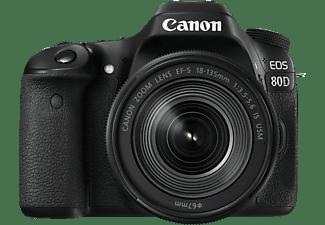 CANON EOS 80D Kit Spiegelreflexkamera, 18-135 mm Objektiv (IS, EF-S, USM), Touchscreen Display, WLAN, Schwarz