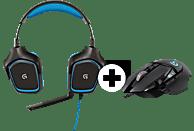 LOGITECH G430 (inkl. G502 Gaming-Maus) Gaming Headset + Gaming Maus Schwarz