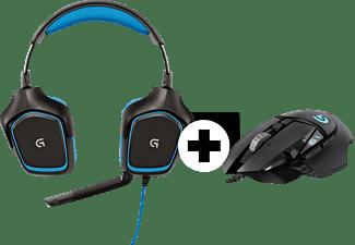 LOGITECH G430 (inkl. G502 Gaming-Maus), Over-ear Gaming Headset Schwarz