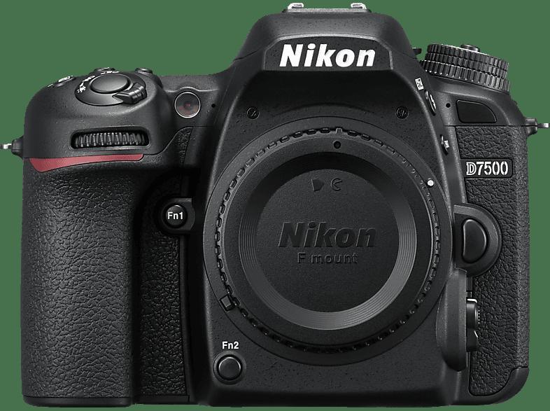NIKON D7500 Body Spiegelreflexkamera, 20.9 Megapixel, 4K/UHD, Touchscreen Display, WLAN, Schwarz