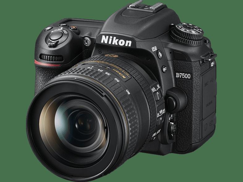 NIKON D7500 Kit Spiegelreflexkamera, 20.9 Megapixel, 4K/UHD, 16-80 mm Objektiv (ED, AF-S, DX, VR), Touchscreen Display, WLAN, Schwarz