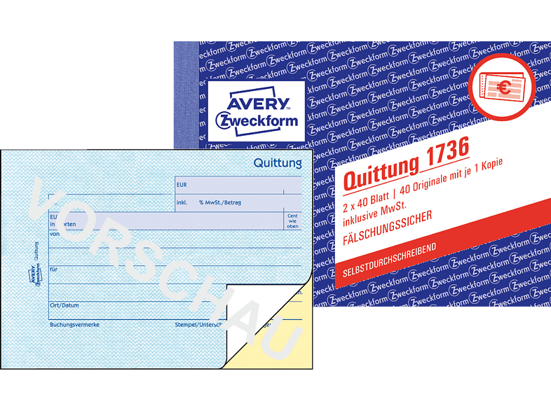 AVERY ZWECKFORM 1736-5 Quittung inkl. MwSt. DIN A6